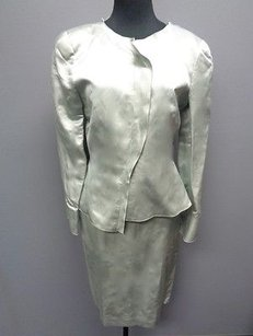 Armani Collezioni Armani Collezioni Sage Green Linen Blend Lined Two Piece Skirt Suit Sma4934