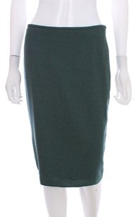Armani Collezioni Wool Lined Pencil Fluted Skirt Teal