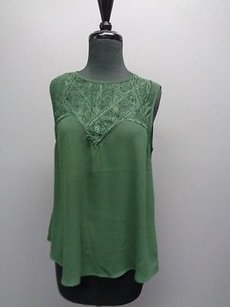 ASTR Sleeveless Lace Upper Tunic Round Neck Sma3051 Top Green