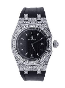 Audemars Piguet Audemars Piguet Royal Oak Ladies- Diamond Bezel And Case - Black Rubber Strap