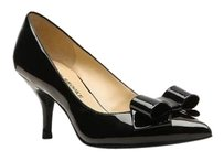 Audrey Brooke Pointed Toe Classic PATENT BLACK LEATHER BOW Pumps