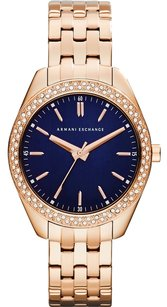 A|X Armani Exchange Armani Exchange Ladies Blue Rose Gold Plated Dress Watch AX5511