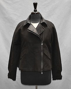 A|X Armani Exchange B2 Ax Cotton Faux Leather Cropped Moto Motorcycle Jacket