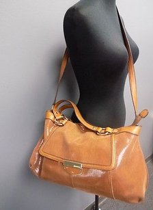 B. Makowsky Camel Leather Embossed Textured B3507 Shoulder Bag