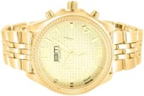 B. Moss 14k Gold Finish Bm Mens Wrist Watch Easy Read Number Dial Metal Band Kc Techno