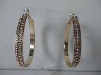 Baby Phat Baby Phat Gold Crystal Oval Hoop Earrings