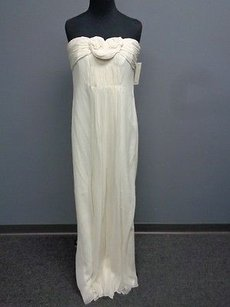 Ivory Maxi Dress by Badgley Mischka Silk Blend Lined Strapless Formal Gown Sm11265