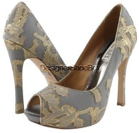 Badgley Mischka Roxie Evening Womens Open Toe Pumps Grey/ Gold Platforms