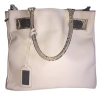 Badgley Mischka Saffiano Leather Snake Skin White Tote in White/Bone
