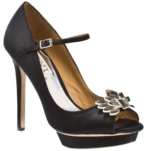 Badgley Mischka Satin Embellished Crystal Peep Toe Grey Formal