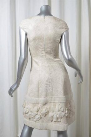 Badgley Mischka Womens Ivory Embroidered Quilted Cap-sleeve Sheath Dress 0 best