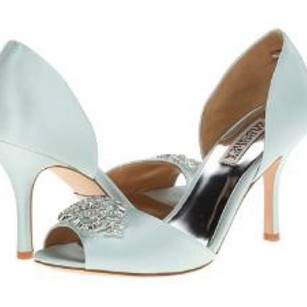 Badgley Mischka Salsa Glacier Satin D'orsay Heels Size 6 Wedding Shoes