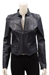Bagatelle P Front Zip Leather Perforated Detail 10878rm Blues Jacket