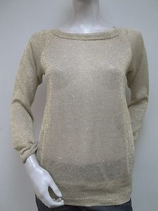 Bailey 44 Metallic Flax Linen Cut Out Wide Neck Sweater