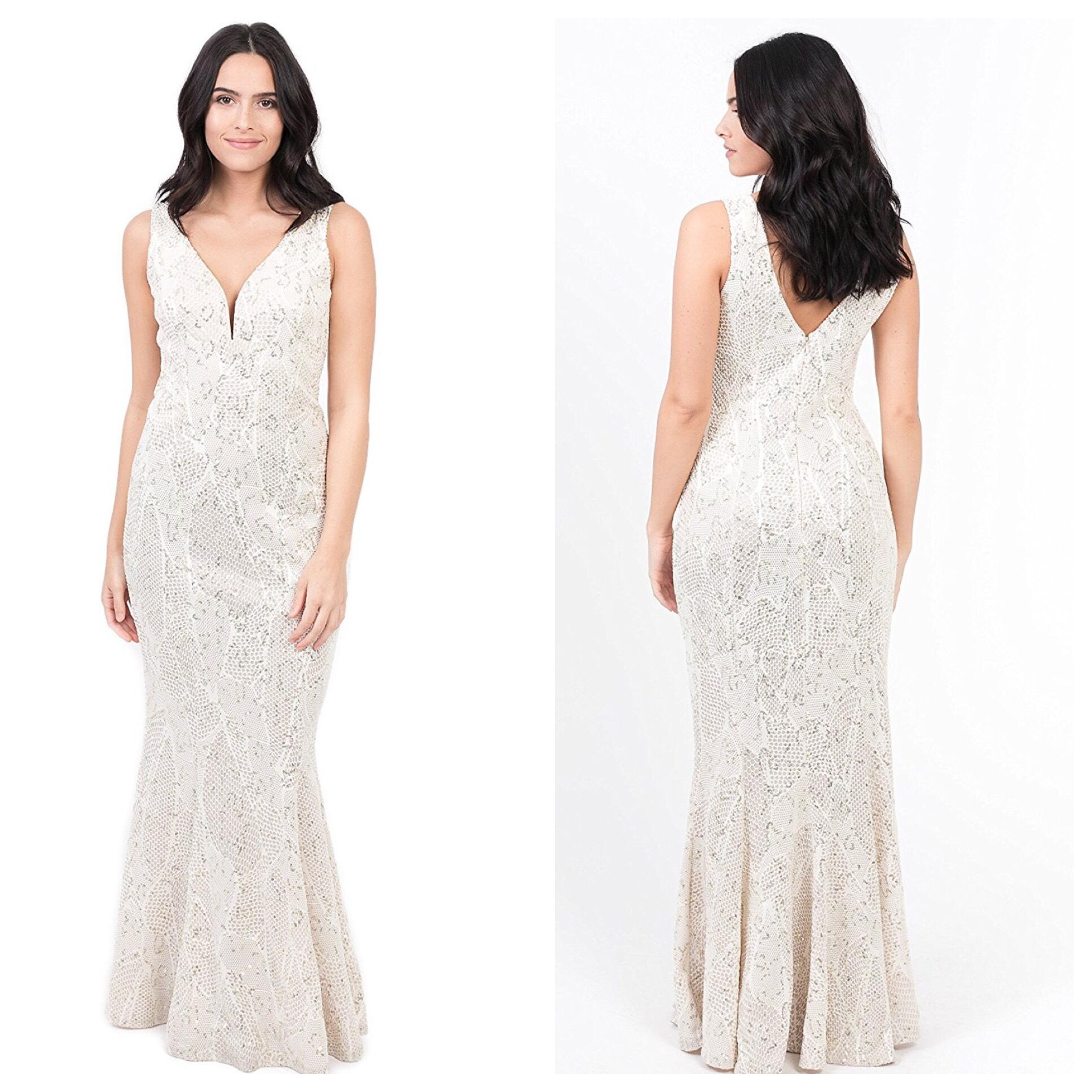 bailey blue Champagne Tan Beige Blush Pink Sequined Deep V Maxi ...