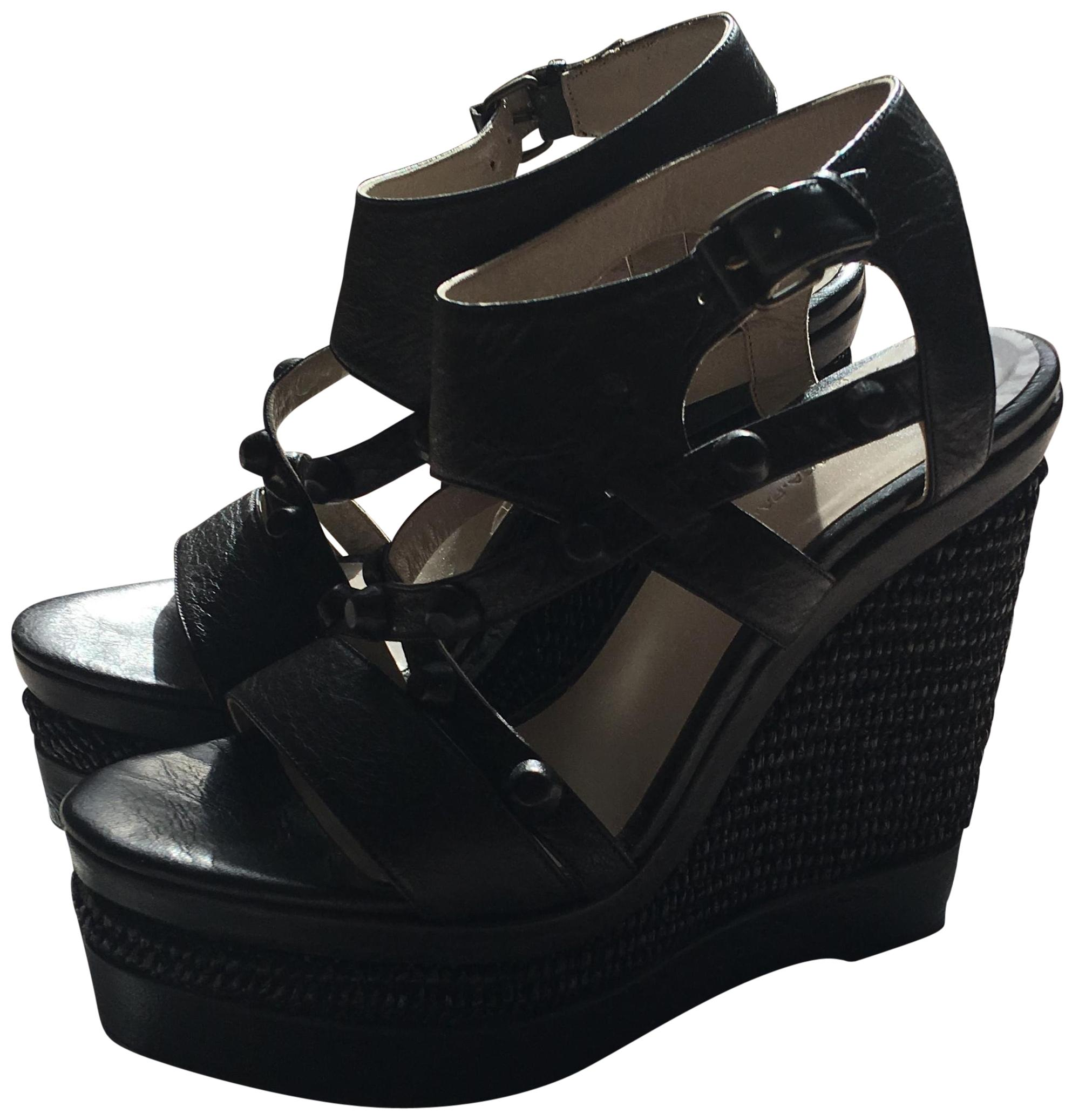 Balenciaga Black Studd Details In Front and Woven High Wedges Size EU 39 (Approx. US 9) Regular (M, B)