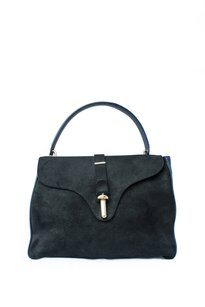 Balenciaga Leather Waxed Suede Gold Hardware Tote in Black and Navy