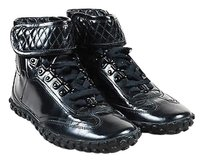 Balenciaga Patent Leather Quilted Lace Up Strap Sneakers Black Flats