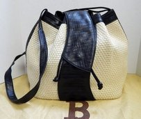Bally Natural Woven Straw Black Croc Leather Drawstring Italy Cross Body Bag