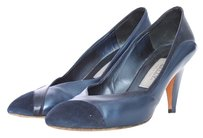 Bally Vintage Leather Crocodile Suede Navy Heels Italian Midnight Blue Pumps