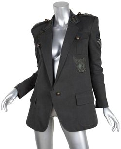 Balmain Womens Cotton Studded Military Coat 386 Black Jacket