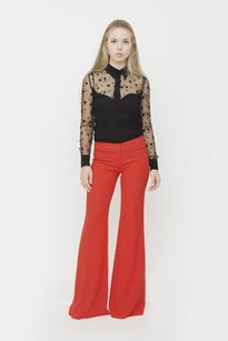 Balmain Bright Coral Low Rise Wide Leg Flare Fitted Trouser Dress 364 Pants