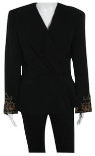 Balmain Made In Italy 100 Percent Wool Embroidered Rhinestones Black Blazer