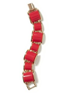 Banana Republic Banan Republic Enamel Gold Plated Link Bracelet Red