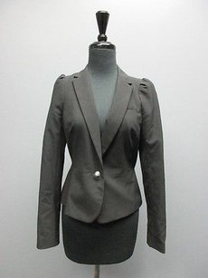 Banana Republic Banana Republic Black Wool One Button Lined Long Sleeve Solid Blazer Sm7691