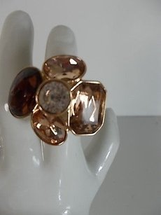 Banana Republic Banana Republic Crystal Bronze Flower Cocktail Ring
