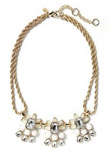 Banana Republic Banana Republic Fan Petite Floral Necklace Crystal Rope Necklace Silver
