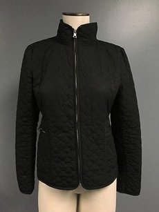 Banana Republic Zip Up Geometric Textured High Neck Sma7898 Black Jacket