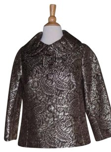 Banana Republic Womens Gold Metallic Embroidered 34 Silk Brown Jacket