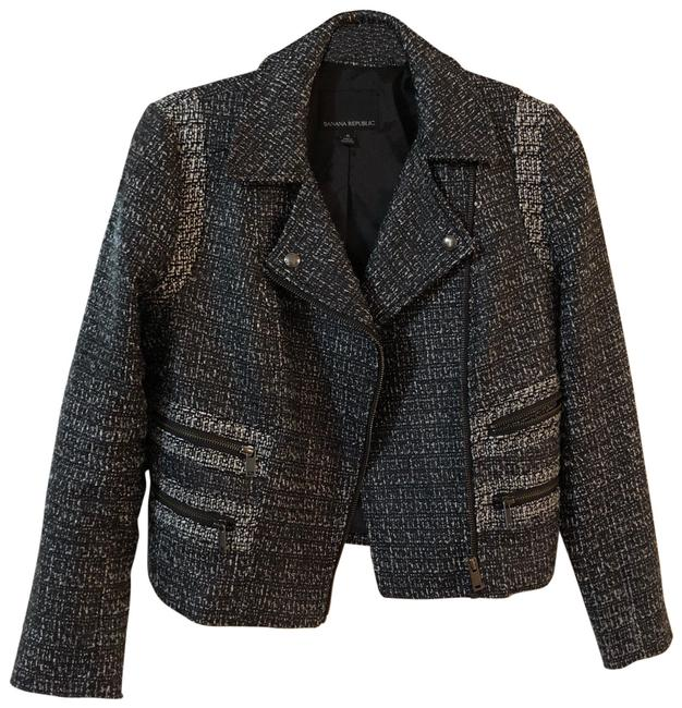 Preload https://item5.tradesy.com/images/banana-republic-black-and-white-b-and-w-tweed-biker-jacket-blazer-size-6-s-23567089-0-1.jpg?width=400&height=650