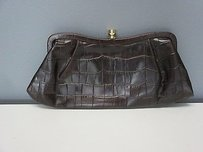 Banana Republic Dark Textured Leather Clip Lock Top B3003 brown/burgundy Clutch