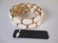 Banana Republic J.crew Cream Cabochon Two Row Stretch Bracelet
