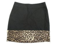 Banana Republic Black Wild Print Elegant Look Career Skirt Multi-Color