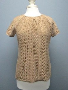 Banana Republic Cotton Short Sleeve Back Zip Lace Sma 4778 Top dark tan