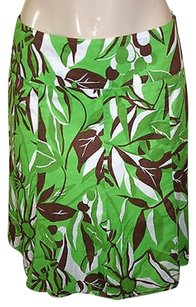 Bandolino Green Brown White Floral Print Skirt Multi-Color