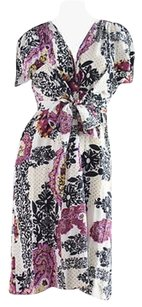 Barbara Bui short dress Multi-Color Pink Black White Stretch Floral Paisley Wrap Hs1844 on Tradesy