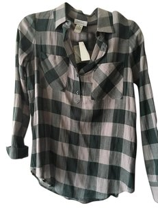 Barneys New York Button Down Shirt Dark green faded green grey plade shirt
