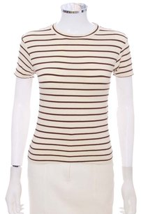 Barneys New York Short Sleeve Italian T Shirt Cream and Brown