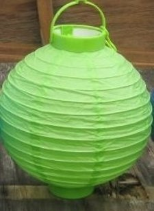 Battery Operated Lime Green Paper Lanterns 8