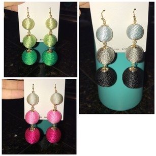 BaubleBar Silk threaded ombre crispin style earrings three colors available
