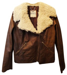 BB Dakota Shearing Faux Fur Leather Lined Brown Leather Jacket