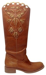 BCBGMAXAZRIA Riding Boot Leather Cognac Boots