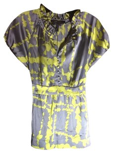 BCBG Max Azria Top Grey And Chartreuse