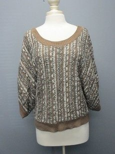BCBGeneration Brown 4 Sleeves Crew Neck Knit Casual Sma2419 Sweater
