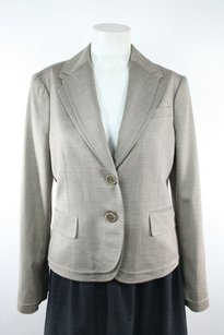 BCBGMAXAZRIA Bcbg Max Azria Beige Brown Wool Viscose Double Collar Blazer Jacket