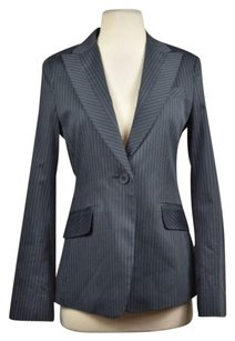 BCBGMAXAZRIA Bcbg Maxazria Womens Blue Striped Blazer Cotton Long Sleeve Career Suit